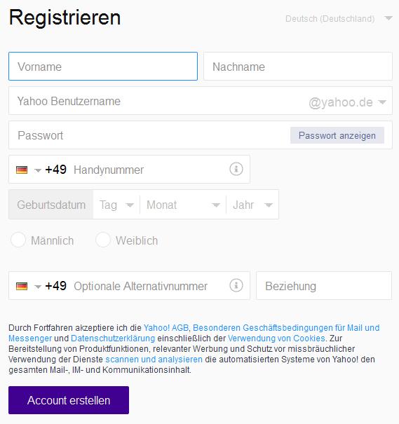 Yahoo Mail anmelden und einrichten